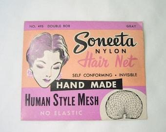ON SALE Vintage Soneeta Nylon Hair Net Hand Made No 495 Double Bob Gray In Original Package NOS