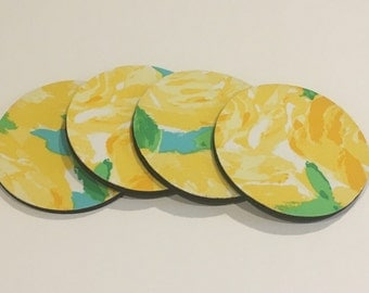 4 Coasters made with Lilly Pulitzer fabric Sunglow First Impression