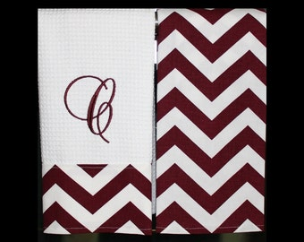Chevron Kitchen Towels or Hand Towels in Maroon Chevron | Housewarming Gift | Hostess Gift | Gifts for Her