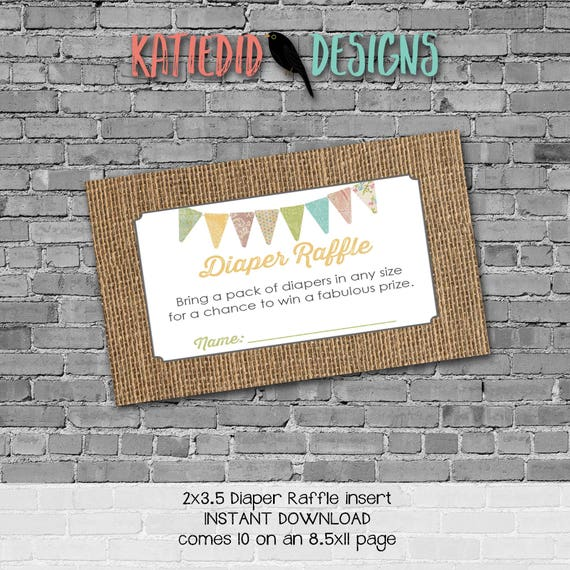 Diaper raffle INSTANT DOWNLOAD item 1410 1431 insert enclosure card burlap lace country rustic chic gender neutral diaper wipes raffle card