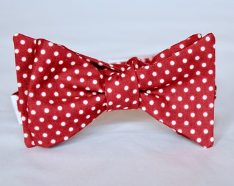 Burgundy and Cream Pin Dot Polka Dot Bow Tie - clip on, pre-tied with strap or self tie - Christmas Tie