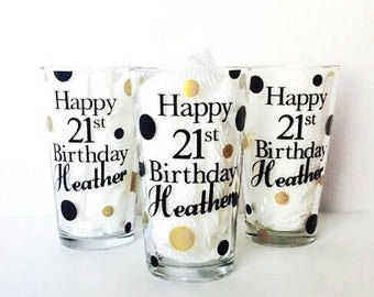 Birthday Pint Glasses, set of 3 personalized beer gifts