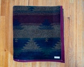SALE Eggplant, Green and Blue Wool Throw Blanket- Camp Blanket