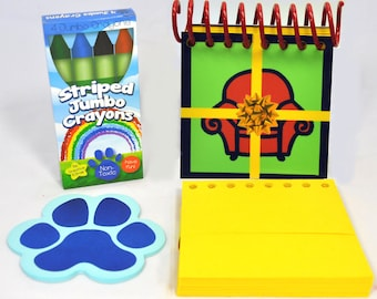 Blue's BIG BIRTHDAY Handy Dandy Notebook with 25 Sticky Clues, box of 4 Crayons and 50 pages refill