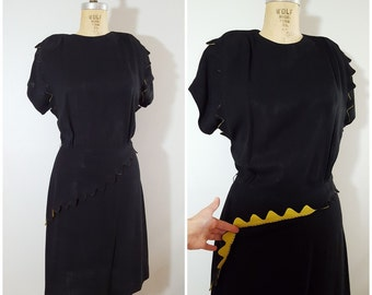 Vintage 1930s Black Crepe Dress with Yellow Zig Zag Trim / 30s Dress / Semone Original / Medium