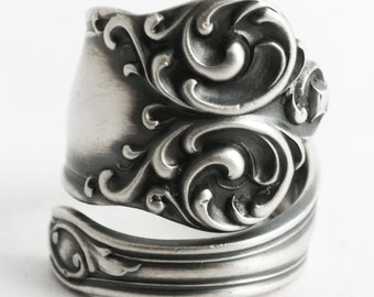 Organic Silver Swirl Ring, Manchester Sterling Silver Spoon Ring, Victorian Ring, Ornate Fancy Ring, Rare Silver, Adjustable Ring Size, 6586