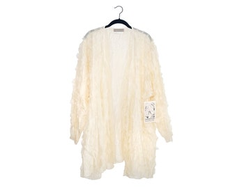 Vintage Dinah Lee 100% Silk Feathery Sheer Oversize Blouse New With Tags- Made in USA - OS