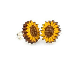 Sunflower Studs -  Laser Cut Earrings from Reforested Wood