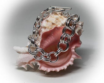Sterling Silver Chain Link Bracelet with Toggle Clasp
