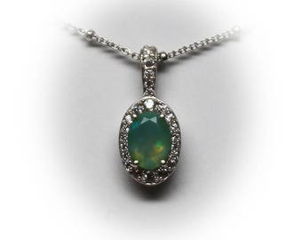 Sterling Silver Faceted Verdant Opal with Diamond Simulant Halo