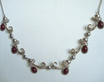 Vintage Necklace Red Glass Stones  1960s 1970s