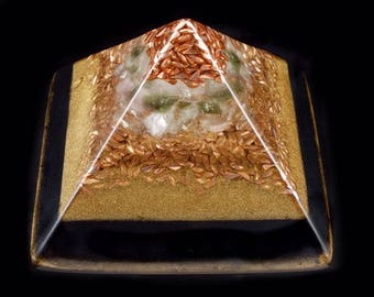 Moldavite Orgonite® Pyramid with Tibetan Crystal, Phenacite, Petalite, Fluorite, Elite Shungite, Tourmaline, Rhodizite, Selenite