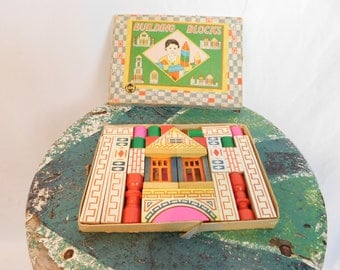 Vintage Small Toy Building Blocks Set In Original Box By Acme