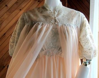 Vintage Peignoir Set | Vintage Lingerie | 1950s Negligee Set | Wedding Peignoir Set | Gorgeous Nightgown & Robe Set | Sheer Lingerie