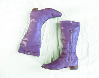 vintage '60s purple leather knee high boots with silver shaft studs . size 8 us 5.5 uk 38.5 eur