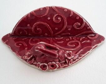 Business Card Holder -Ceramic Card Holder with Rabbit -Desk Business Card Holder - Cherry Red Business Card Holder - Letter Holder