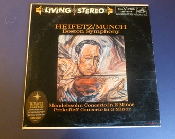 Heifetz/Munch Boston Symphony Vinyl Record LSC-2314 Red Seal 1959 Rare