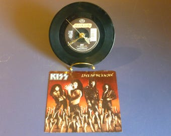 KISS Calling Dr. Love 1976 872 246-7 Recycled 45 Vinyl Record Clock Art