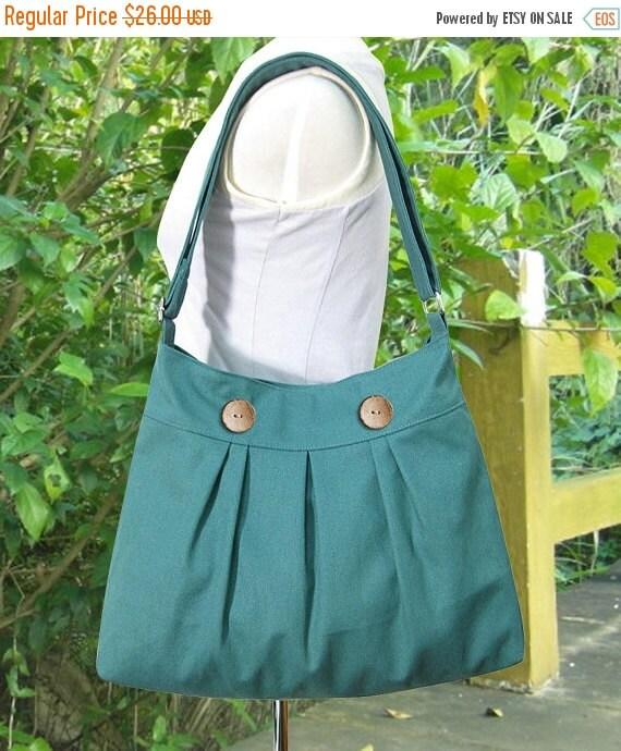 March Sale 10% off Teal green cotton canvas travel bag / shoulder bag / messenger bag / diaper bag / cross body bag, zipper closure