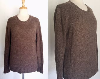 FREE SHIPPING//Vintage brown boyfriend sweater//long length brown jumper//size large