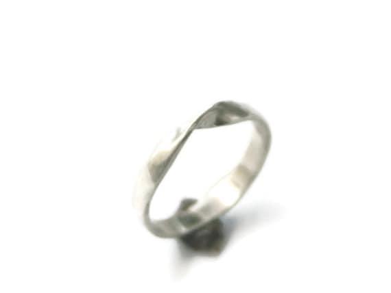 Mobius ring sterling silver stacking ring