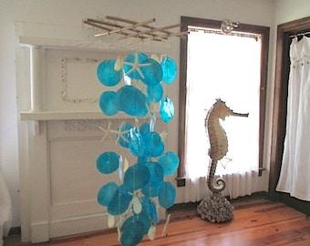 Nautical Deep Turquoise/Aqua Capiz Shell Wind Chimes, Starfish/Shells/Bamboo
