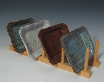 SOAP DISHES, TAPAS dishes small rectangular trays  in blues, white, and reds