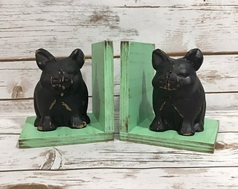Black Pig Figurines Set of Bookends//Pig Book Ends//Available in a Variety of Colors//Gifts Under 25//Gifts for Her//Farmhouse Decor