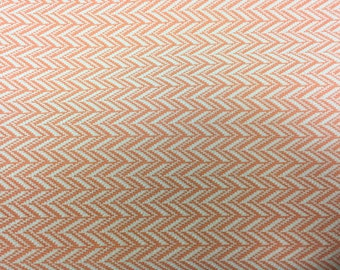 Vintage 60s 70s Upholstery Fabric Rare Peach Herringbone Polyester