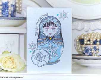 Frosted rose Russian Doll tattoo luxury handmade Christmas card