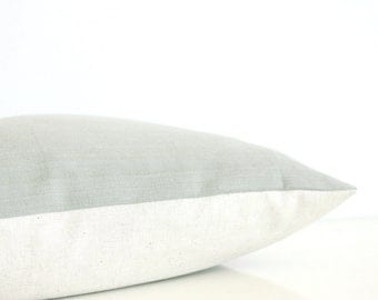 Light green pillow - organic cotton pillow in sage green with natural linen back, rustic modern style, eco friendly decor