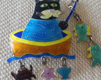 Whimsical Enamel Cat Fishing in a Boat Brooch