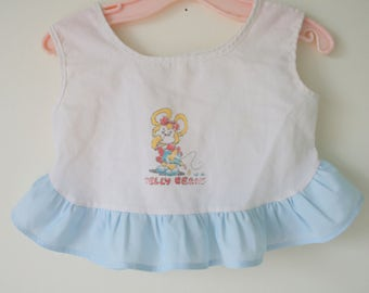 1980s BLUE Ruffled Kids Top...size 3 6 months...bright. pastel. children. tee. tank. pull over. top. retro. bear. animal. baby girl gift