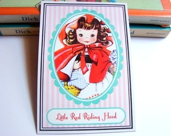Small Ready to Frame Print * Little Red Riding Hood Mother Goose Fairy Tale Nursery Rhyme Girls Kids Room Bedroom Home Decor
