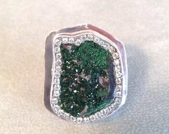 HOLIDAY SALE Sparkling Uvarovite Sterling Silver ring OOAK