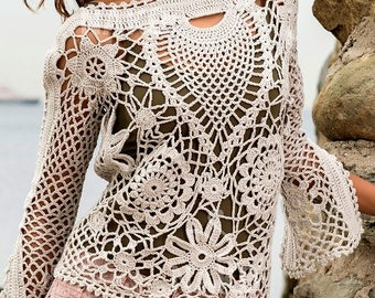 Crocheted Multi-Motif Beach Cover-up - Made to Order