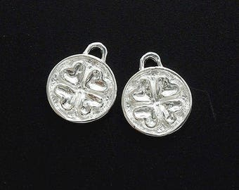 2 of 925 Sterling Silver Clover Disc Charms 10mm. :tm0163