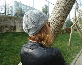 GRAY GREY LEAF beanie hat for women, Hand knitted hat women, Winter hats