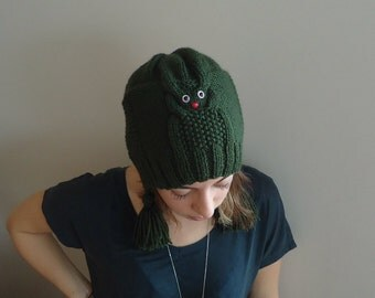 Hand Knitted ARMY GREEN Beanie  HAT,women,teenage,fall winter, gift for her ,hat with tassel ,owl hat