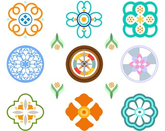 Decorative Element Clipart, Bohemian Clipart, Boho Clipart, Mandala Clipart, Medallion Clipart, Moroccan Clipart, Digital Download