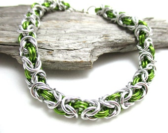Lime Green & Silver Byzantine Chainmaille Bracelet