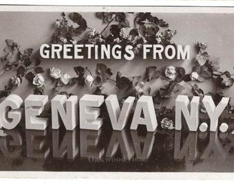 Geneva N.Y. Greetings Real Photo Antique Postcard, Victorian 1908 RPPC Floral Ephemera, Upstate New York, FREE SHIPPING