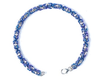 Chainmail Bracelet, Sterling Chainmail, Byzantine Weave, Sterling Silver, Blue Chain Mail, Colorful Chainmail, Renaissance Bracelet, Canada