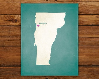 Customized Vermont State Art Print, State Map, Heart, Silhouette, Aged-Look Personalized Print
