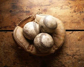 Vintage Leather Softballs - Great Man Cave Decor!