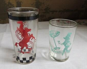 Vintage Swanky Swig Glasses – Set of 2 / RARE Hazel Atlas Horse Glass / Dancing Poodle Martini Shot Glass / Vintage Juice Glass