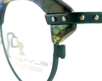 Vintage Club Glasses Eyeglasses Sunglasses New Frame Eyewear Silver Studs Emerald
