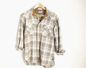 ON SALE - 20% off - Vintage 70s 80s Brown Plaid Pearl Snap Pendleton Wool Western Shirt // unisex small med- distressed