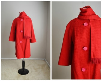 Vintage 60s Christmas Red Wool Swing Coat with Scarf // womens medium