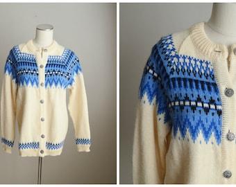 Vintage Dale of Norway Blue Ivory Winter Wool Cardigan Sweater // womens medium